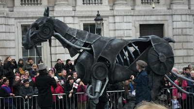 The horse from the stage production War Horse (so it's all metal and controlled by humans inside).