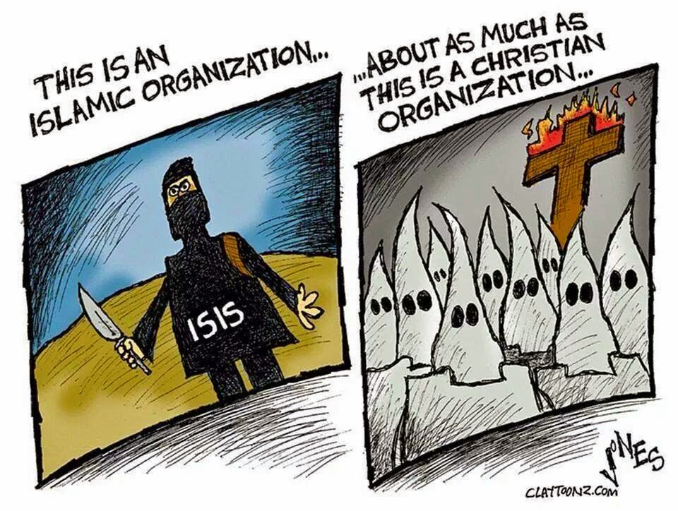 Caricature of ISIS fighter and of KKK members.  Caption points out that both claim to be religious organizations.