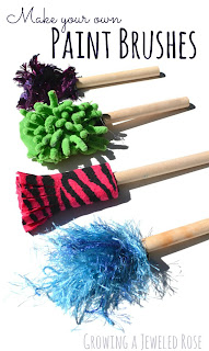 Make your own paint brushes using loose parts from around the home.  The brushes you could create are endless and the works of art SO FUN!