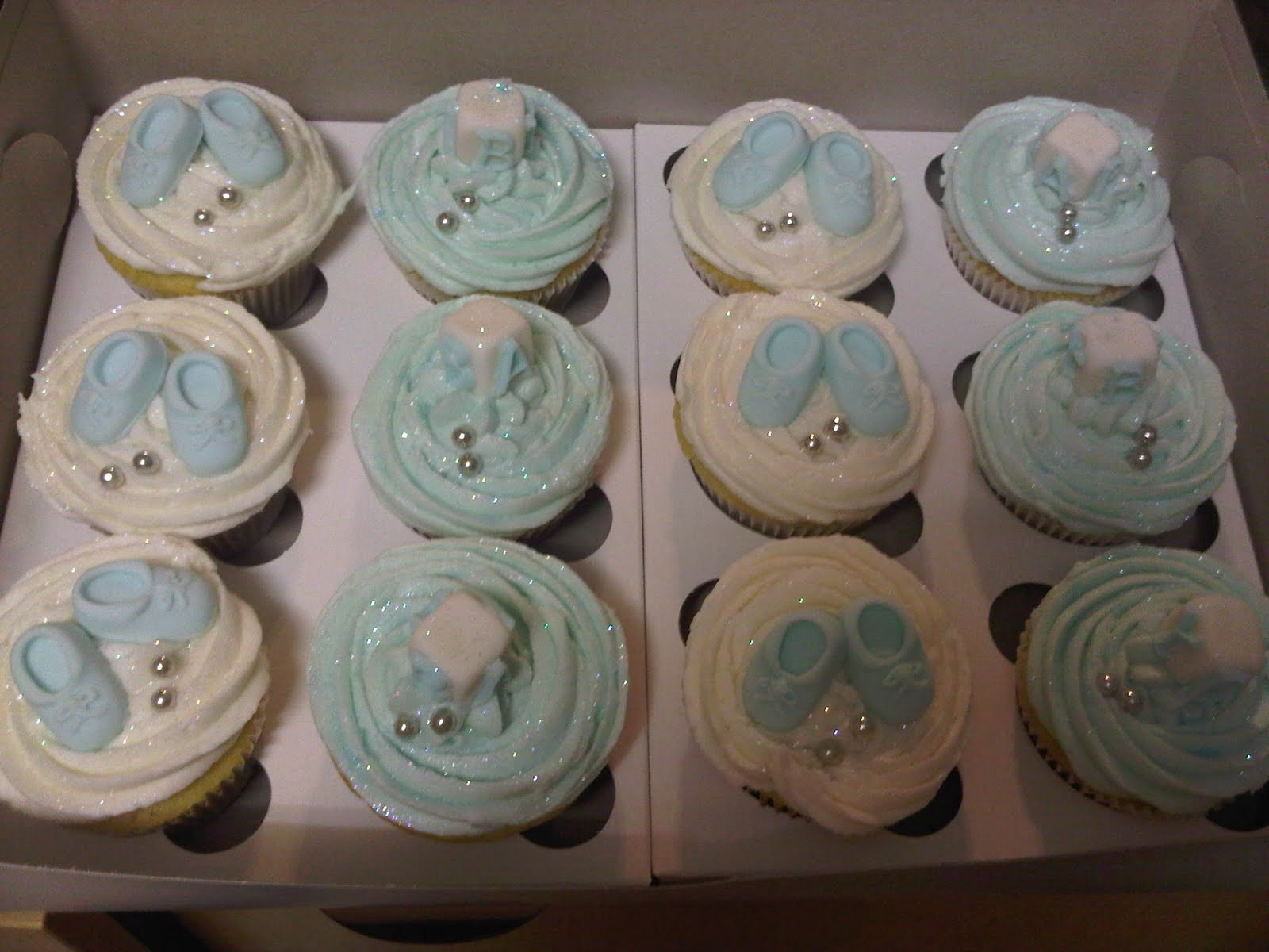 Baby Shower Cupcakes Blue ~ Mmm desserts baby shower cupcakes blue white