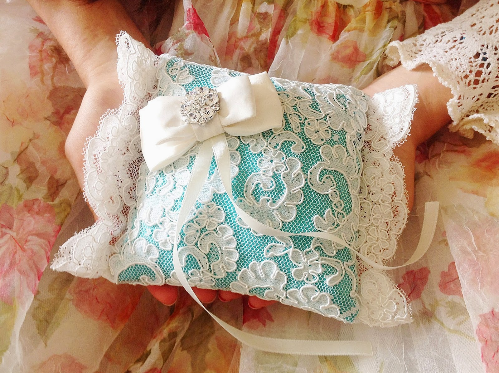 Blue ring bearer pillow lace