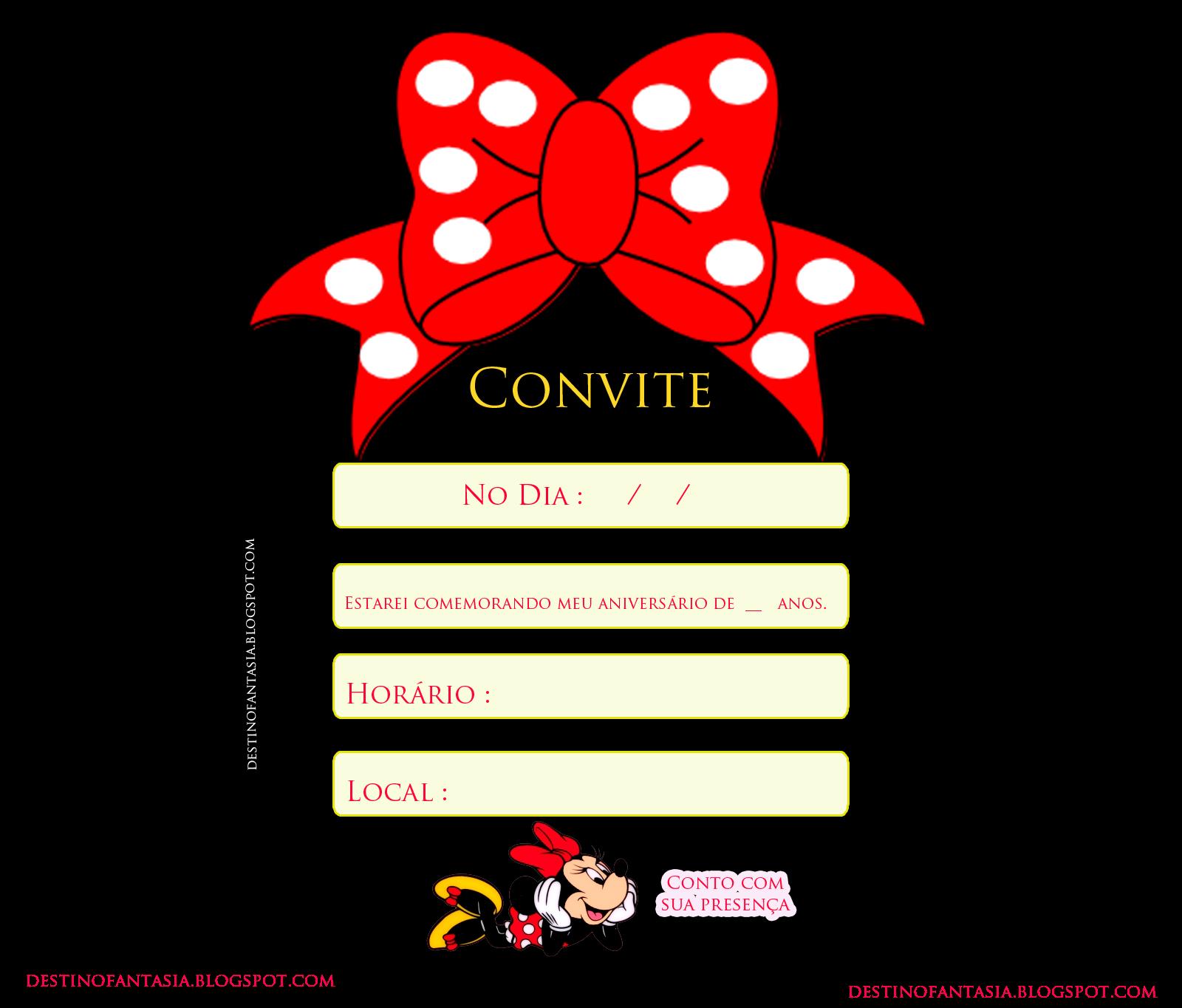 Convite festa minie