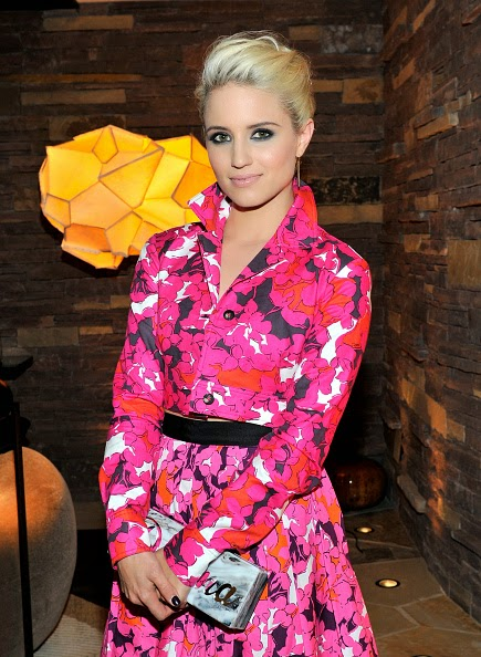Dianna Agron in a cropped blazer and skirt at the 2014 CFDA Vogue Fashion Fund Dinner in LA