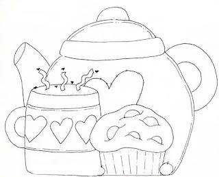 Riscos para pintura - Aparelho de chá
