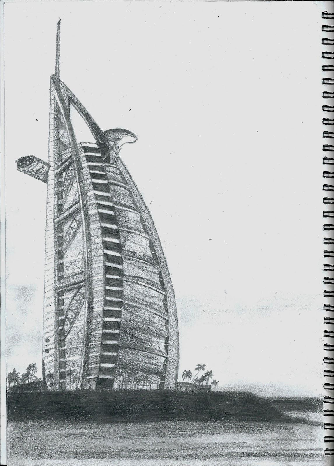 1093928008 Pencil Sketch Of The Burj Al Arab A Building