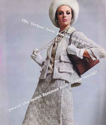 Ad from 1964 Ladies' Home Journal for Orlon fabric, showing a high fashion woman's suit.