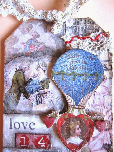 detalle parte superior del tag febrero vintage y romántico para San Valentín