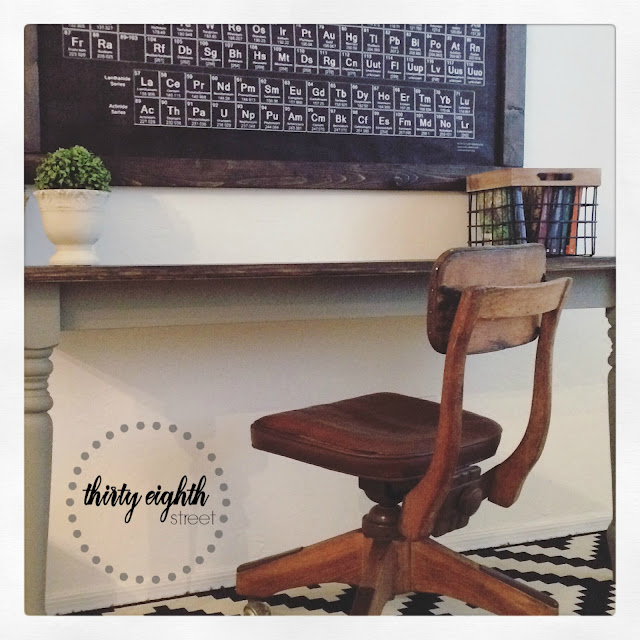 cut a table in half, how to paint a desk with chalk style paint, general finishes chalk style paint, empire gray, walnut stain, general finishes water based stain
