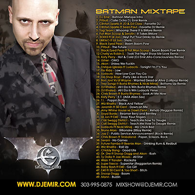 DJ Emir Batman Mixtape Back Cover