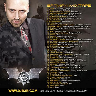 DJ Emir Batman Mixtape Back Cover