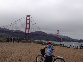 cycling across the Golden Gate Bridge in San Francisco