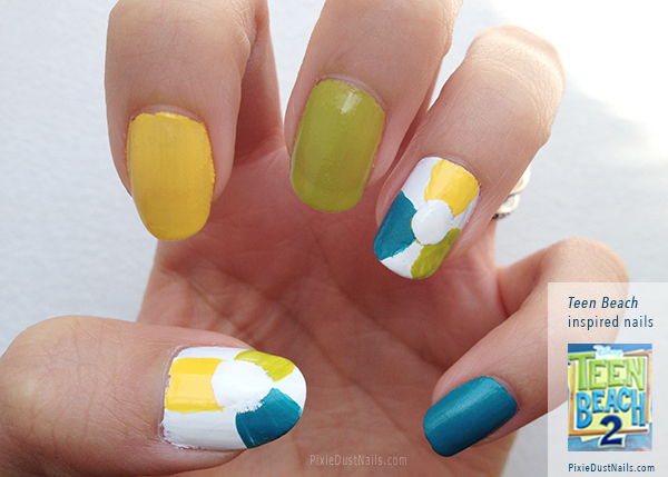 Beach ball nails - inpsired by Teen Beach 2