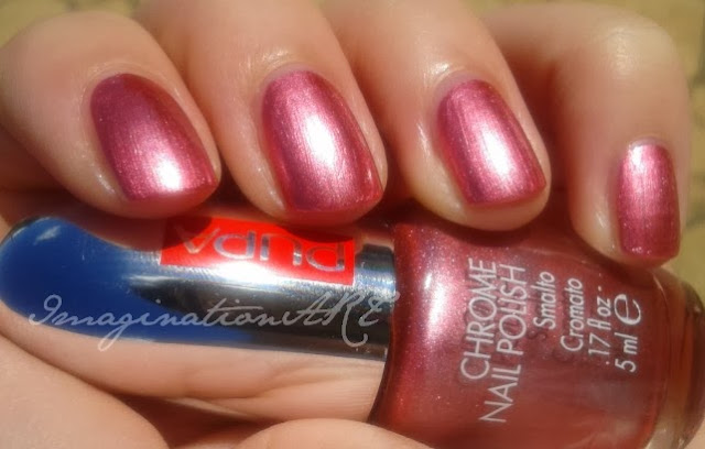 "Pupa n°011 ""Cherry Pink"" Chrome Nail Polish swatches swatch review recensione smalto nail polish lacquer unghie"