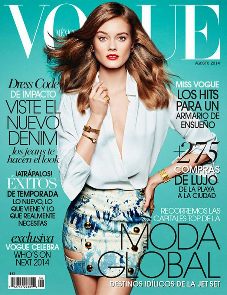 Monika Jac Jagaciak is chic in Anthony Vaccarello for the Vogue Mexico August 2014 cover