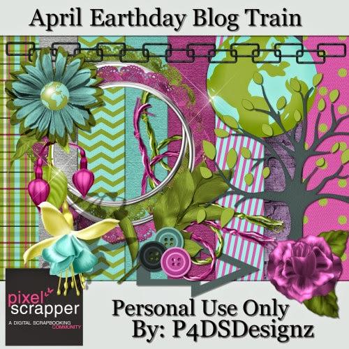 """PixelScrapper blogtrain """"Earth Day"""" by P4DSDesignz"""