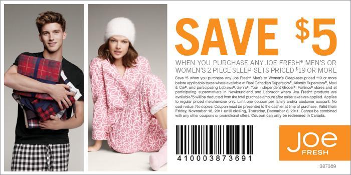 Joe fresh coupons november 2018