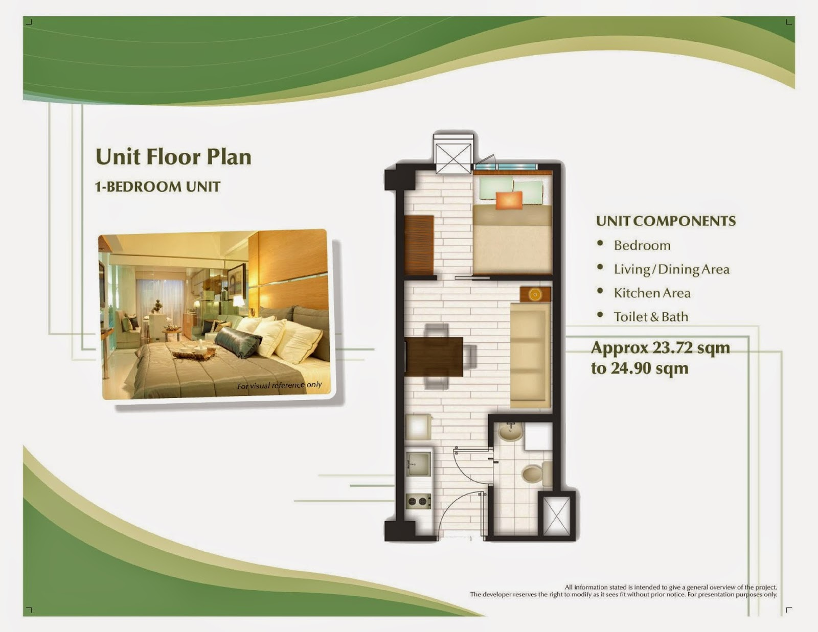 Trees Residences - 1 Bedroom Unit Layout