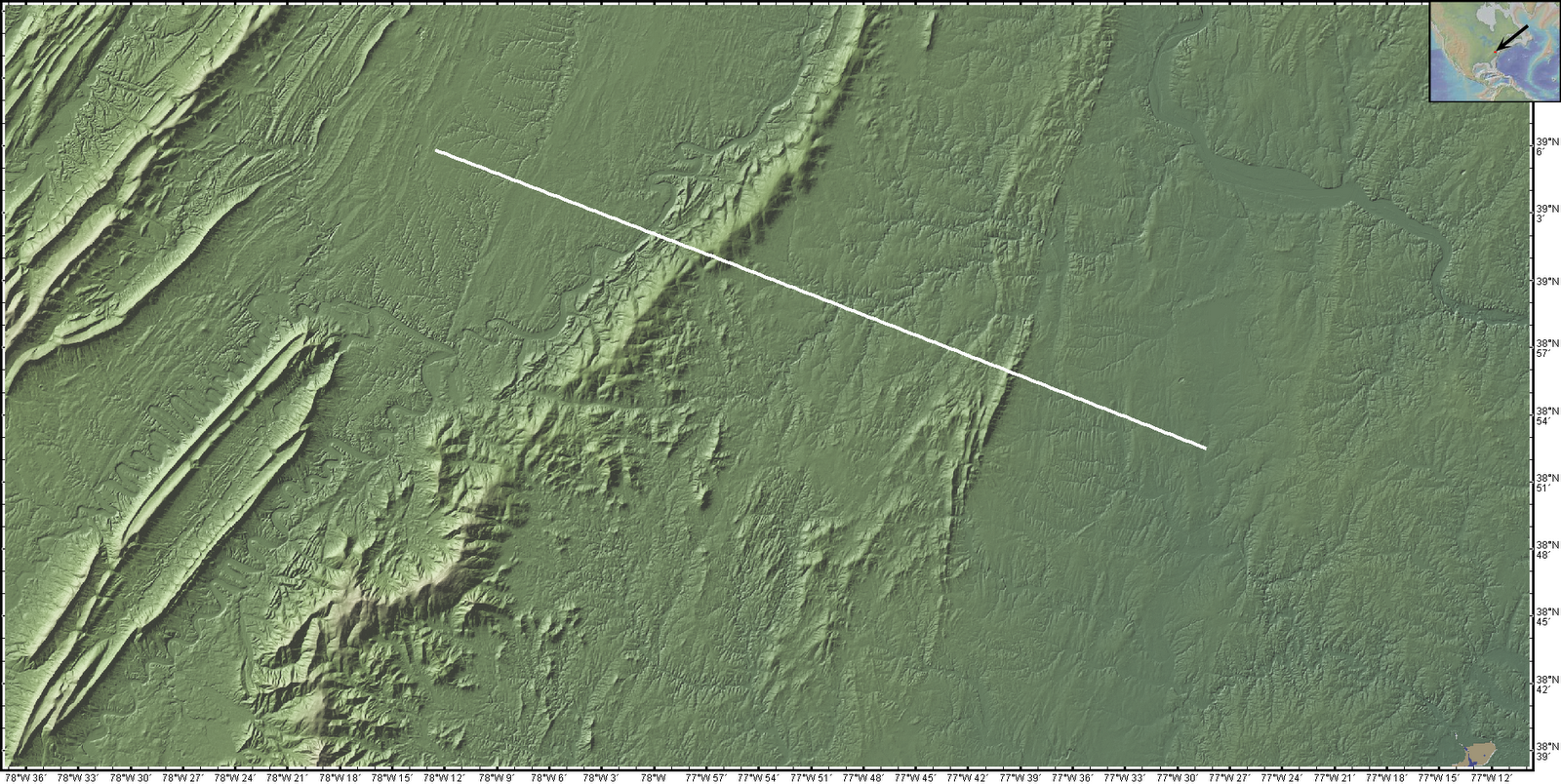 i have constructed a topographic cross section using geomapapp software to show the actual height to distance here we can observe just how much erosion has
