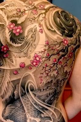 Gorgeous cherry blossom back tattoo!