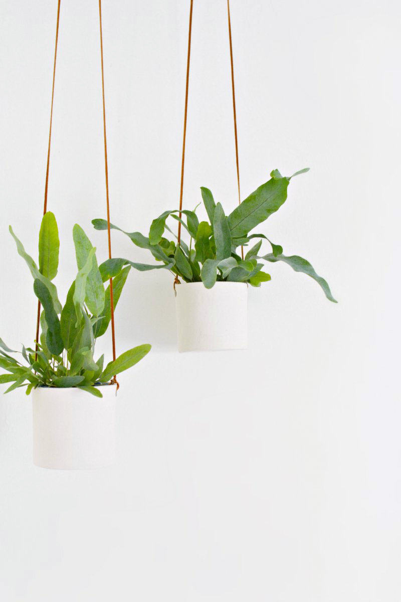 Design Hanging Planters diy leather and clay hanging planters burkatron planters