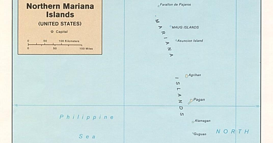 Kaart micronesi kaart noordelijke marianen en saipan - Noordelijke deel ...