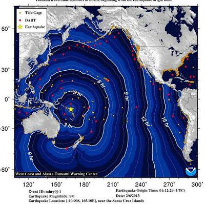 ALERTA TSUNAMI 06 DE FEBRERO 2013 . MAPA NOAA