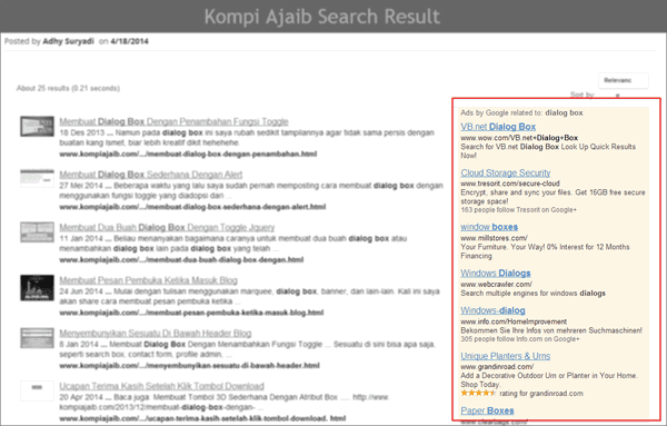 Adsense Dengan Google Custom Search Blog