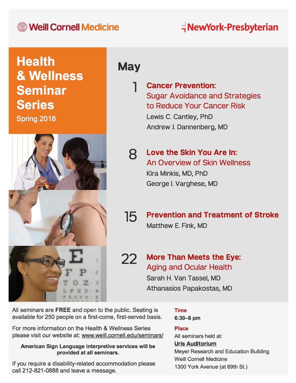 You're Invited To Weill Cornell Medicine - NY Presbyterian Health & Welnness Seminars