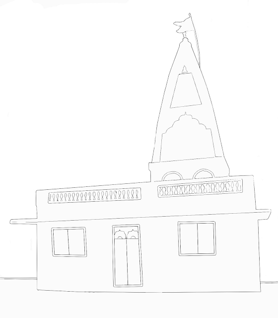 sketch of small temple in India
