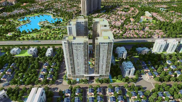 Phối cảnh từ xa dự án chung cư Eco Green City