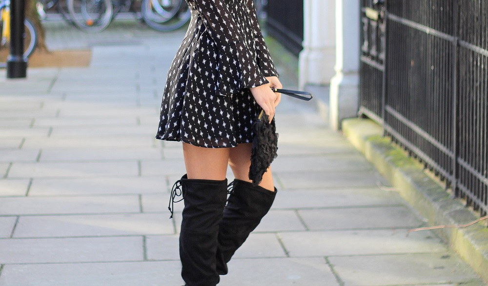 knee high boots in winter styled by peexo fashion blogger