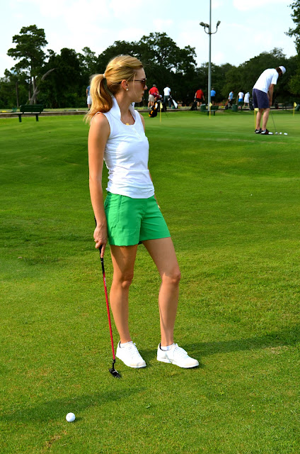c. style blog, c-style blog, carly lee, carley lee, houston, cstyleblog.com, women's golf attire, women's nike golf attire, nike sleeveless white nike golf shirt, green nike golf shorts, nike modern fit golf shorts, adidas golf shoes, pink footjoy glove, golf outfit ideas, women's golf attire