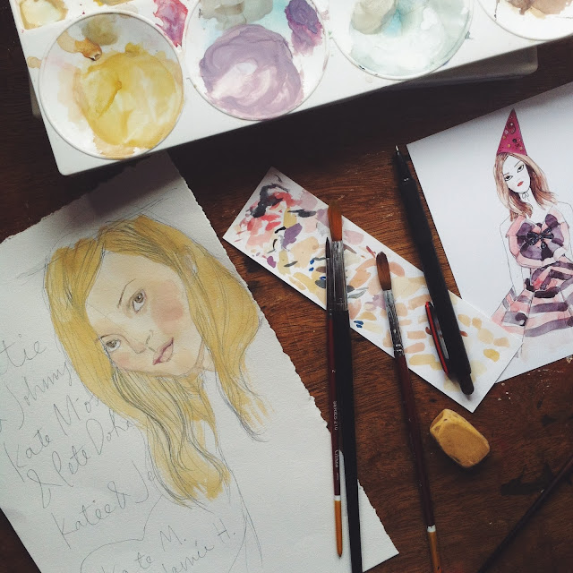 Kitty N. Wong / Kate Moss illustration in gouache, artist desk