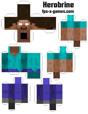Minecraft herobrine papercraft template