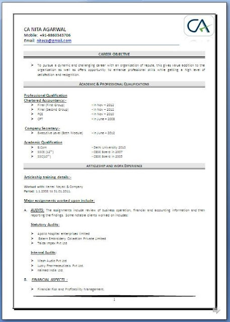 Sample Resume For Freshers Chartered Accountant frizzigame