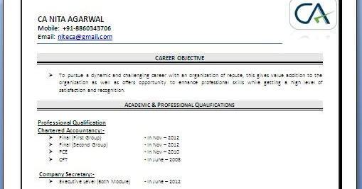 CA Fresher Resume Sample