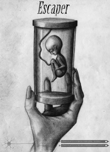 art artist pencil drawing draw paper traditional surreal horror sadness sad pain agony love  death concept abhijithvb abhijith vb avb india kerala baby  escaper  escape