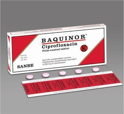 Dosis Obat BAQUINOR Ciprofloxacin / Siprofloksasin