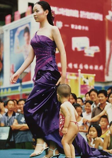 funny picture Chinese model with a child