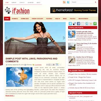 iFashion blogger template. free blogspot template magazine style