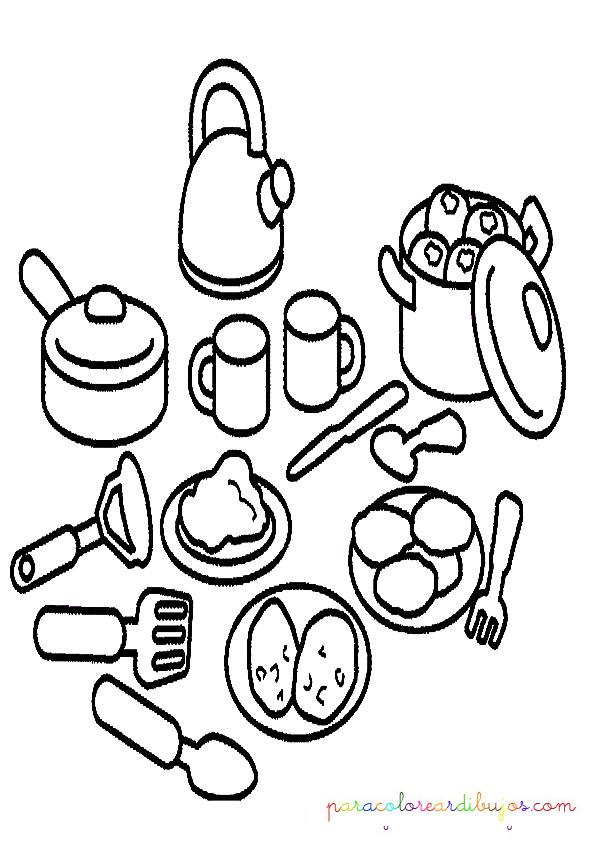 Imagenes para colorear de utensilios de cocina imagui - Dibujos de cocina para colorear ...