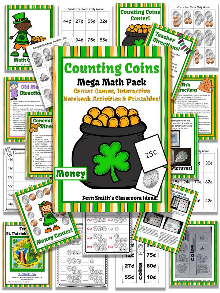 http://www.teacherspayteachers.com/Product/St-Patricks-Day-Counting-Coins-and-Bills-Mega-Math-Pack-1148752