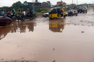a typical bad road in ogun state