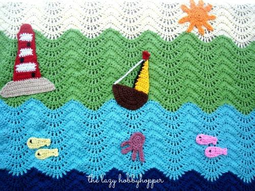 Free Crochet Pattern For Baby Ripple Blanket : The Lazy Hobbyhopper: Waterworld ripple baby blanket