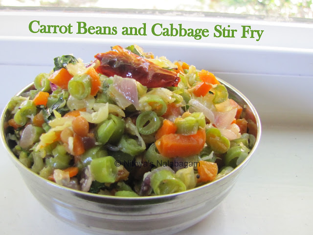 Carrot Beans Cabbage poriyal