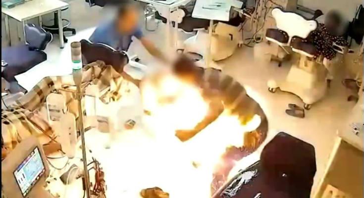Βίντεο σοκ: Αλβανός πυρπόλησε ασθενή σε νοσοκομείο των Τιράνων