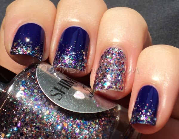 Rimmel London Barmy Blue with Shimmer Polish Julie.