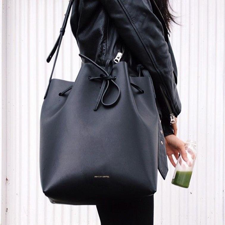 Giant Masur Gavriel black leather bucket bag