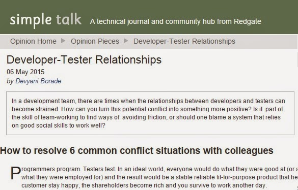 Verbolatry - Devyani Borade - Developer-tester relationships - Simple Talk
