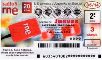 Lotería Nacional del jueves 1 de mayo de 2014